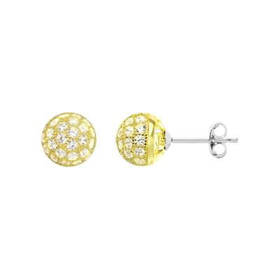 Buy Tresor Paris Allure Gold & White Crystal Orb Earrings