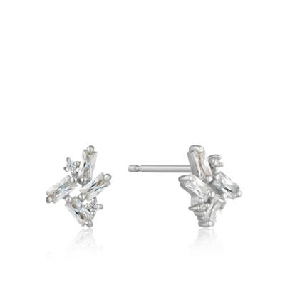 Buy Ania Haie Silver Cluster Stud Earrings | Baguette Cut Cubic Zirconia Earrings