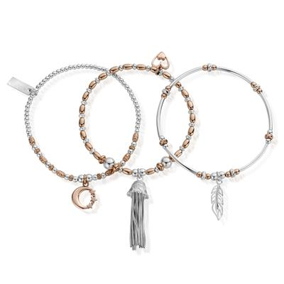 Buy ChloBo Rose Gold Silver Inner Spirit Stack of 3