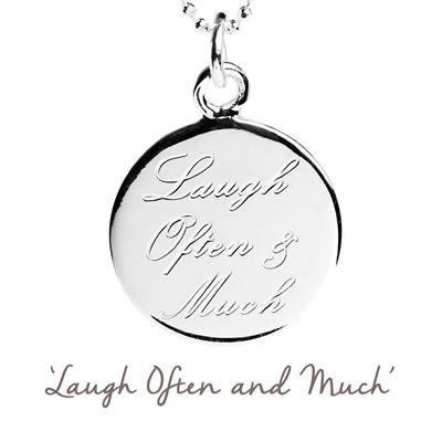 Buy Laugh Often and Much Mantra Necklace in Silver
