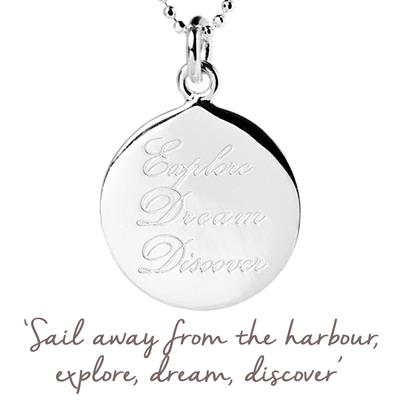 Buy Mantra Explore, Dream, Discover Necklace in Silver