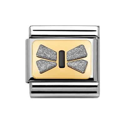 Buy Nomination Silver Glitter Bow Plate