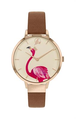 Buy Sara Miller Flamingo Watch, Brown Leather