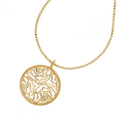 Buy Dower and Hall 18ct Gold Vermeil Wild Rose Disc Pendant