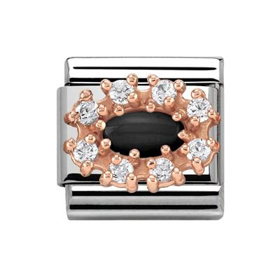 Buy Nomination Couture Rose Gold CZ & Black Agate Cluster Classic Charm