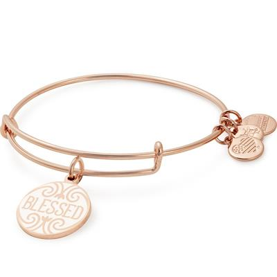 Buy Alex and Ani Blessed Colour Infusion bangle in Shiny Rose Gold