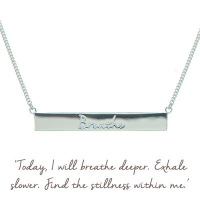 Buy Breathe Bar Mantra Necklace in Silver