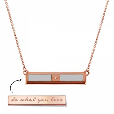 Buy Take What You Need Rose Gold Toned Bar Necklace