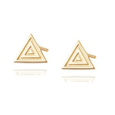 Buy Daisy Artisan Triangle Stud Earrings, Gold-plated Silver