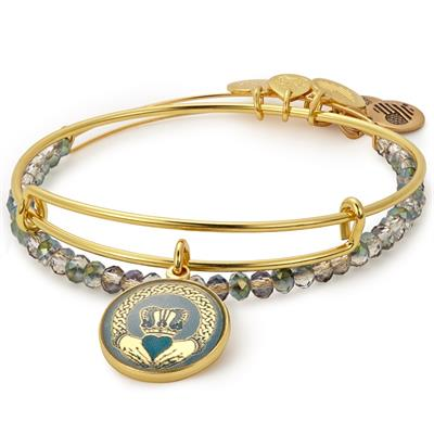 Buy Alex and Ani Claddagh Art Infusion bangle Set in Shiny Gold