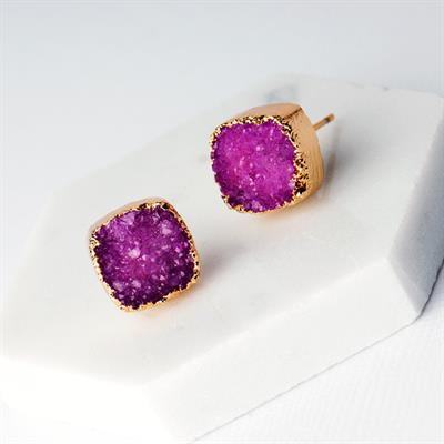 Buy Druzy Pink Agate Square Studs
