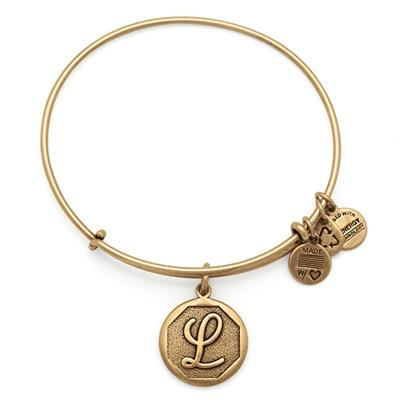 Buy Alex and Ani L Initial Bangle in Rafaelian Gold