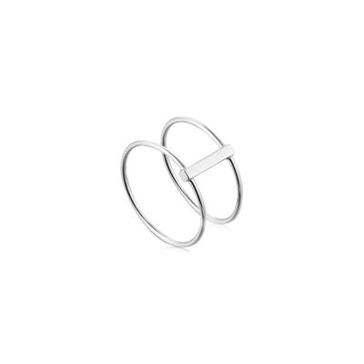 Buy Ania Haie Modern Minimalism Silver Double Ring 54