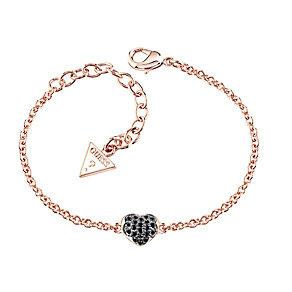 Buy Guess Black Crystal Heart Bracelet
