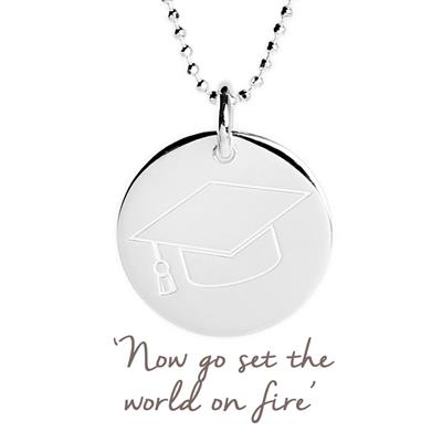Buy Graduation Cap Mantra Disc Necklace in Silver