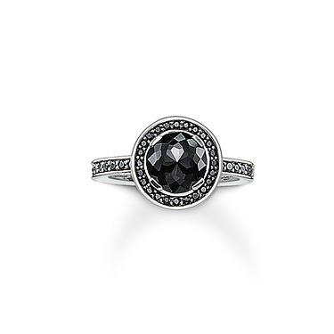 Buy Thomas Sabo Black CZ Halo Ring Sterling Silver Size 54