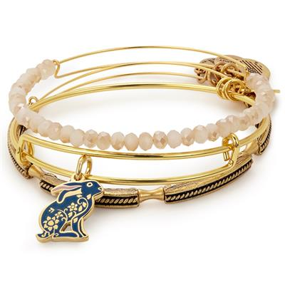Buy Alex and Ani Colour Infusion Rabbit bangle Set of 3 in Shiny Gold