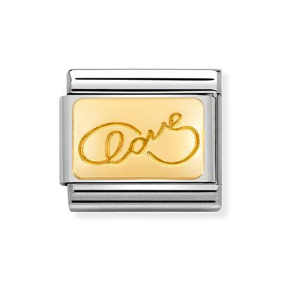 Buy Nomination Gold Engraved Love Charm