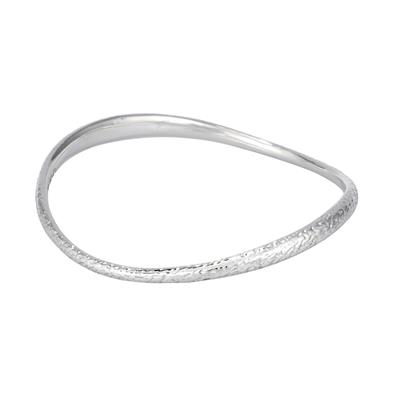 Buy Lifes Journey 'Find A Way' Curved Hammered Silver Bangle Small