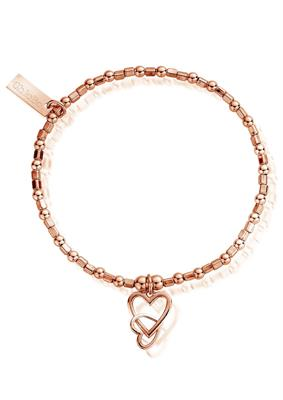 Buy ChloBo Rose Gold Interlocking Love Heart Bracelet