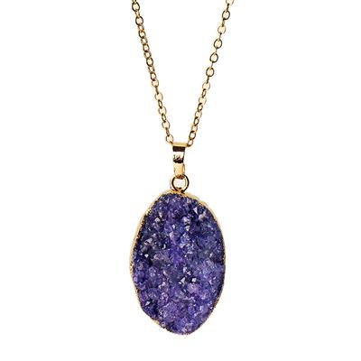 Buy Druzy Purple Agate Oval Pendant