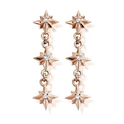 Buy ChloBo 'Inner Spirit' Rose Gold North Star Drop Earrings