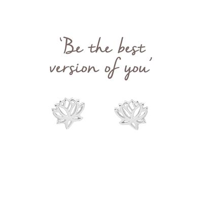 Buy Mantra Lotus Studs in Silver