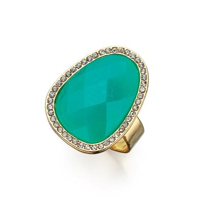 Buy Fiorelli Large Green Faceted Stone Ring (Small)
