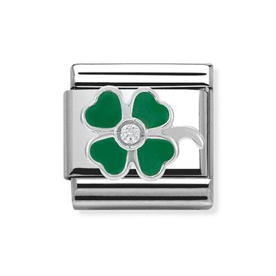 Buy Nomination Green Enamel CZ Clover