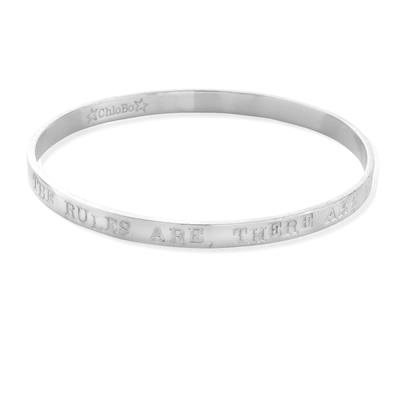 Buy ChloBo 'The Rules Are' Silver Boho Small Bangle