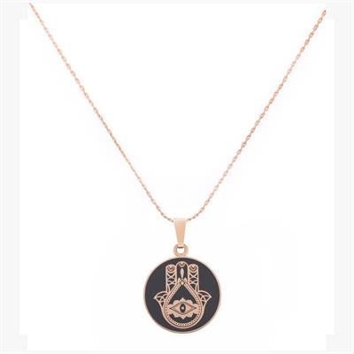 Buy Alex and Ani Hand of Fatima Charcoal Necklace in Shiny Rose Gold Finish
