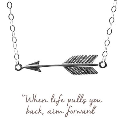 Buy Arrow Mantra Necklace in Silver