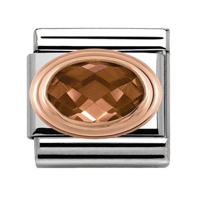 Buy Nomination Smokey CZ & Rose Gold Oval