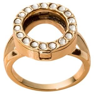Buy Nikki Lissoni Gold and Crystal Coin Ring Size 7