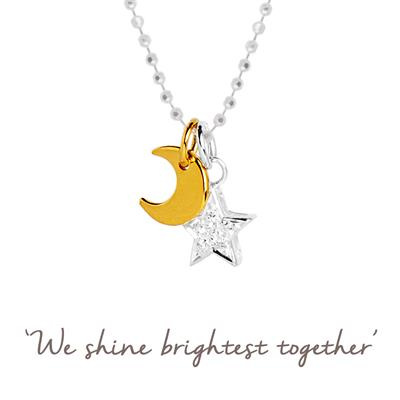 Buy Brightest Together Star and Moon Mantra Necklace