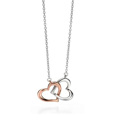 Simona Rose Gold And Silver Interlocking Heart Necklace