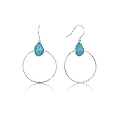 Buy Ania Haie Silver Turquoise Front Hoops