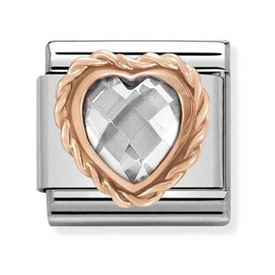 Buy Nomination Rose Gold Clear CZ Heart Charm