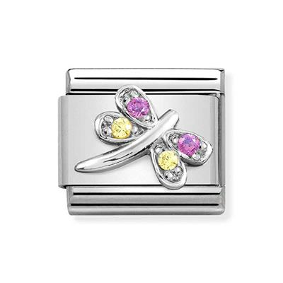 Buy Nomination Silver & Lilac CZ Dragonfly Charm