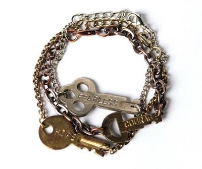 Buy Giving Keys FEARLESS Gold Never Ending Bracelet