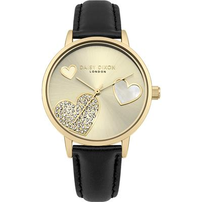 Buy Daisy Dixon Gold CZ Hollie Black Leather Watch