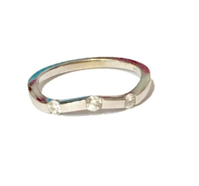 Buy Precious Gems Curved 3 Diamond Ring Size M
