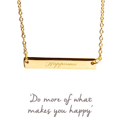 Buy Happiness Mantra Bar Necklace in Gold