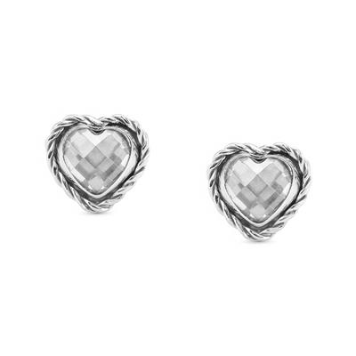 Buy Nomination Silver White CZ Heart Studs