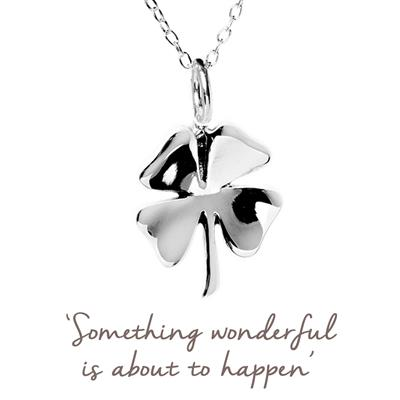 Buy Clover Mantra Necklace in Silver