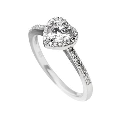Buy Diamonfire CZ Heart Band Size M (17)