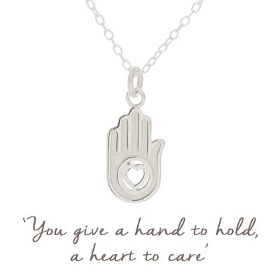 Buy Mantra Hand in Heart Necklace in Sterling Silver