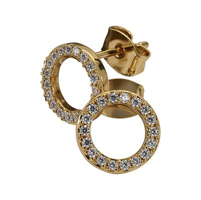 Buy Nikki Lissoni Gold Cubic Zirconia Stud Earrings 10mm