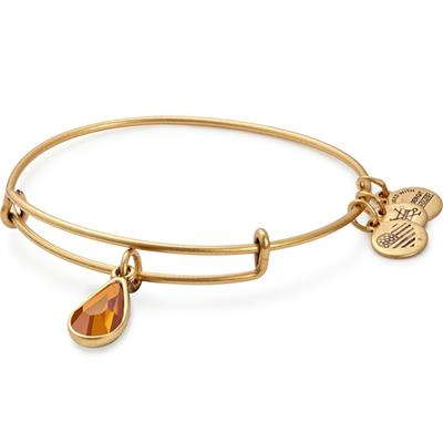 Buy Alex and Ani November Topaz Birthstone bangle in Rafaelian Gold Finish