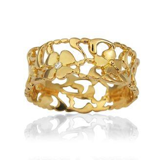 Buy Blossom Gold Thin Foliage Ring Size P
